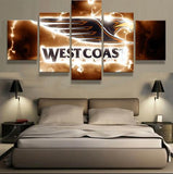 5 Panel West Coast Eagles Modern Décor Canvas Wall Art HD Print.