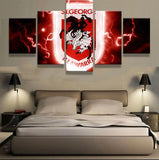 5 Panel St George Dragons Modern Décor Canvas Wall Art HD Print.