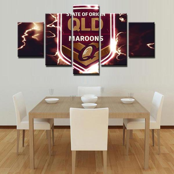 5 Panel Maroons QLD State of Origin Modern Décor Canvas Wall Art HD Print.