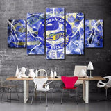 5 Panel Parramatta Eels Logo Modern Décor Canvas Wall Art HD Print.