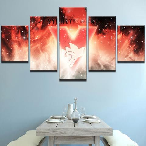 5 Panel Sydney Swans Team Modern Décor Canvas Wall Art HD Print.