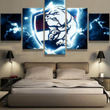 5 Panel Western Bulldogs Modern Décor Canvas Wall Art HD Print.