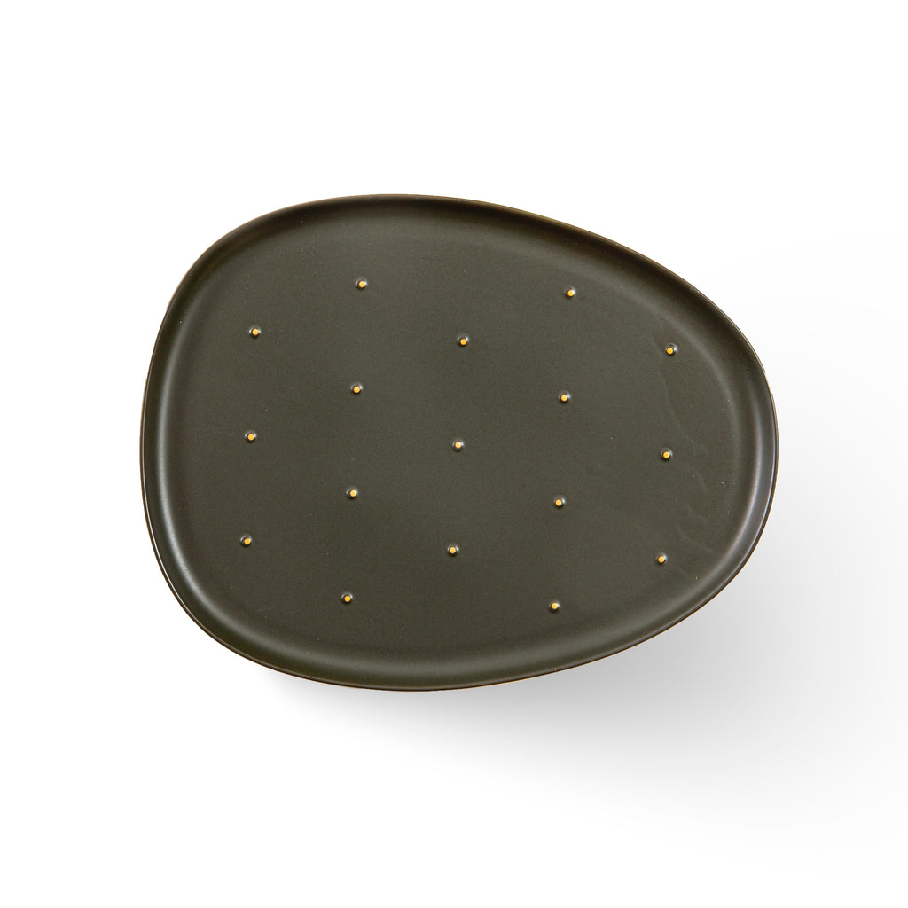 Cactus - olive green lunch plate (M) - OUTLET