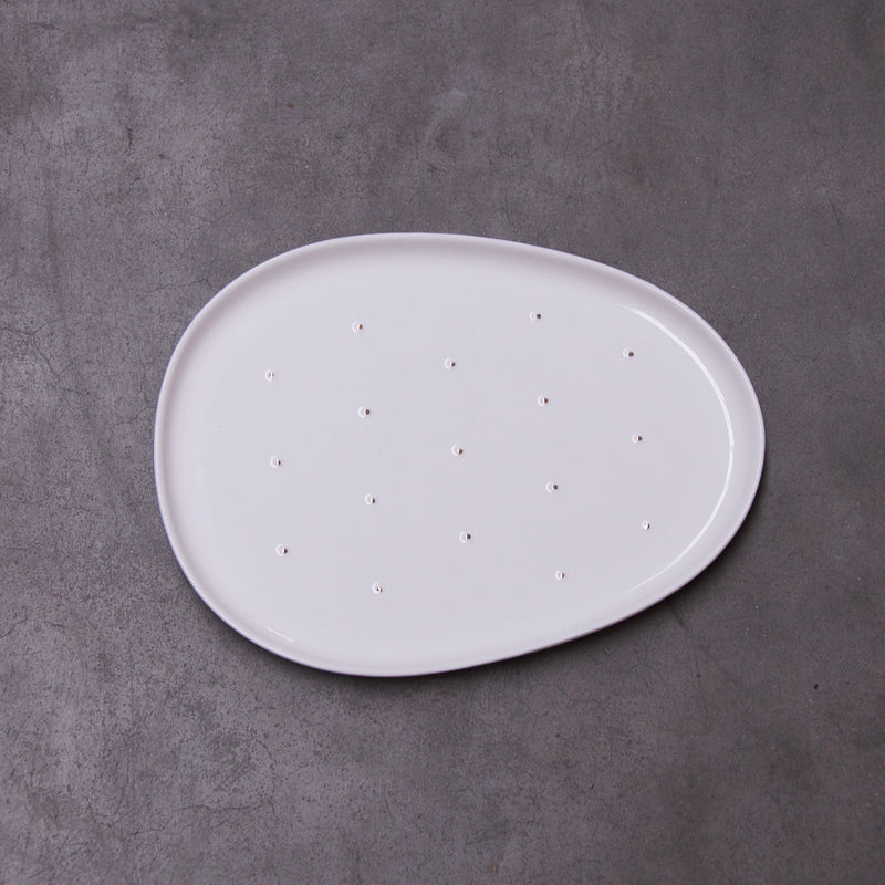 Cactus - white lunch plate (M) - OUTLET