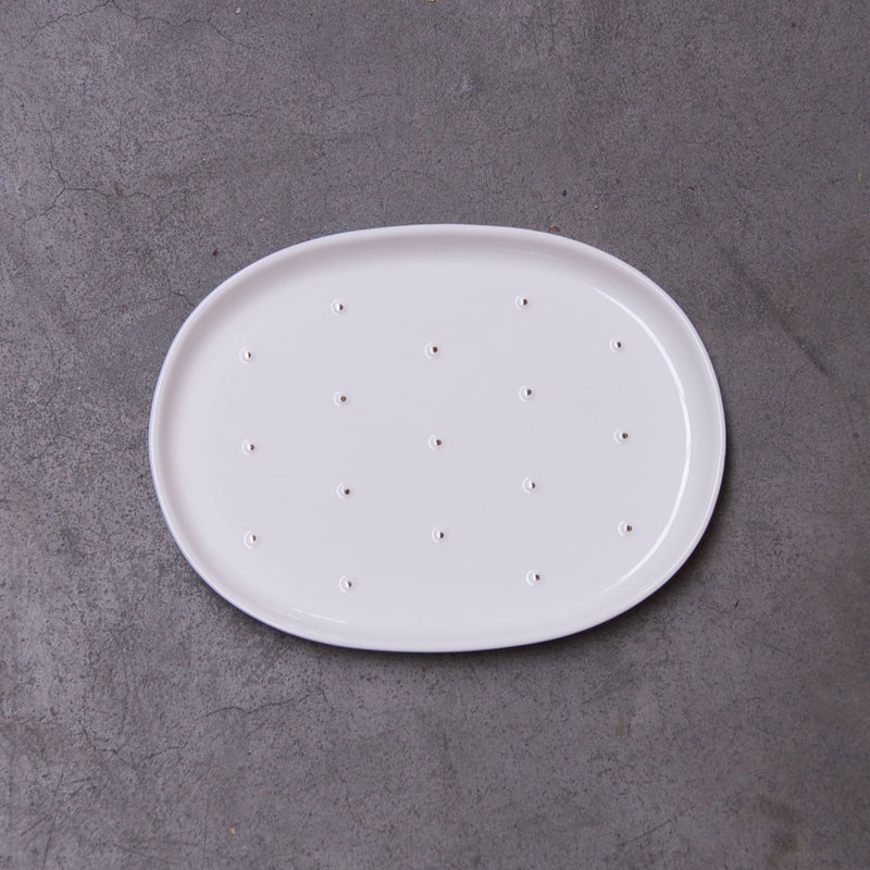 Cactus - small white plate (S) - OUTLET