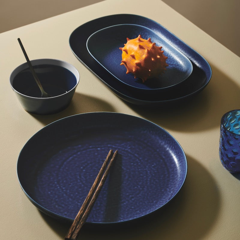 ReIRABO round plate - off shore blue