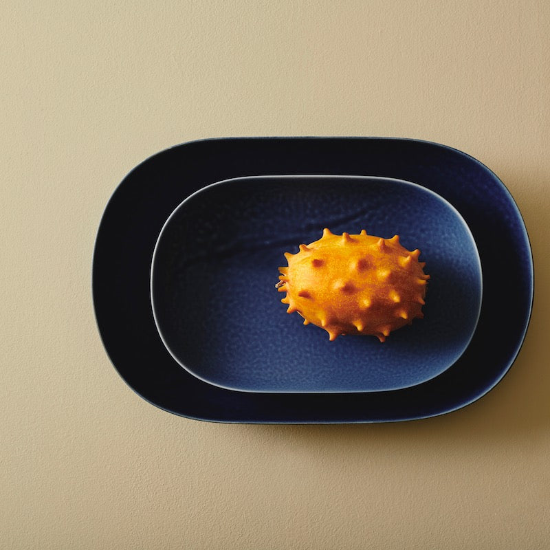 Ovals blue ceramic plate from Japan available at JAHOKO