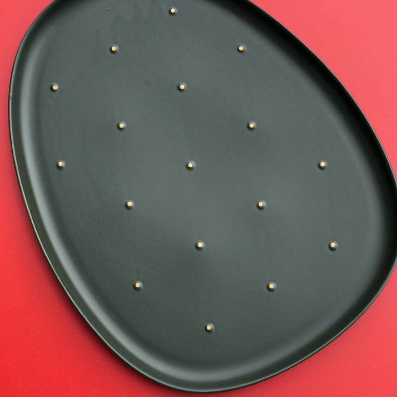 Cactus - olive green dinner plate (L) - OUTLET
