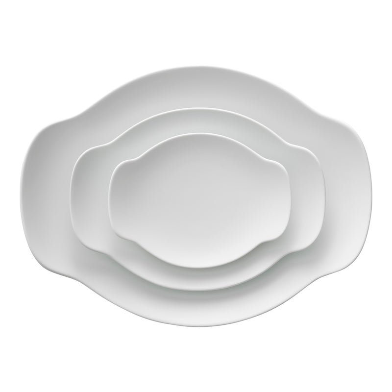 Matte white elegant porcelain plate or platter from Japan. Available at JAHOKO.com in 3 sizes.