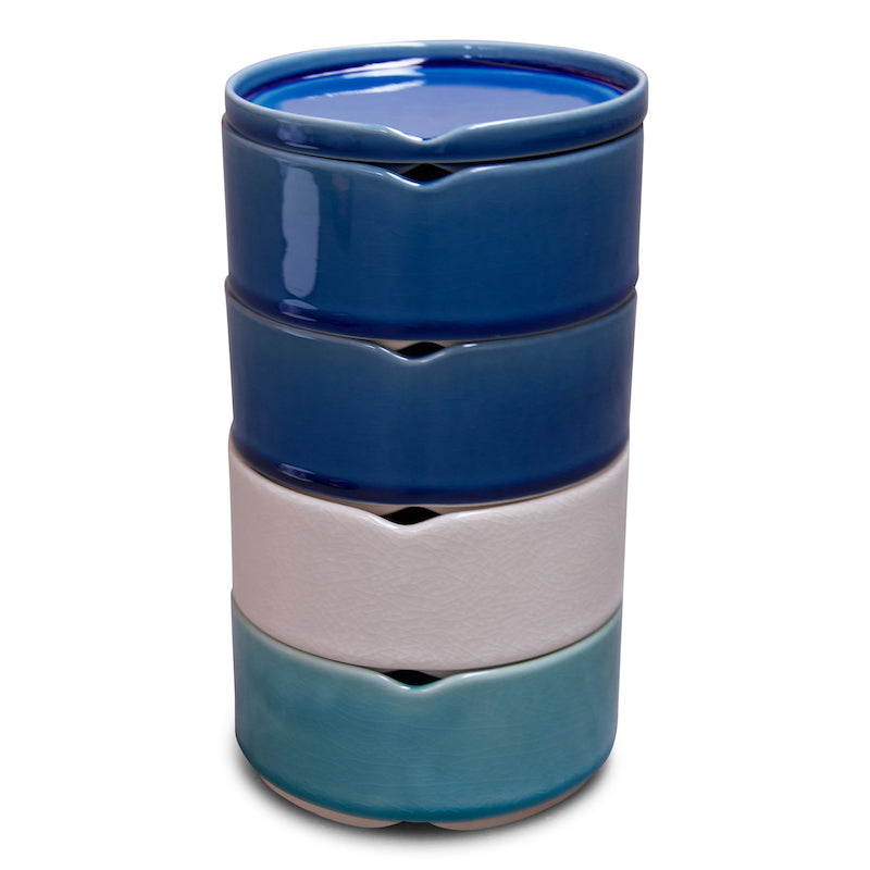 Hasu stacking bowl w. lid - deep blue M