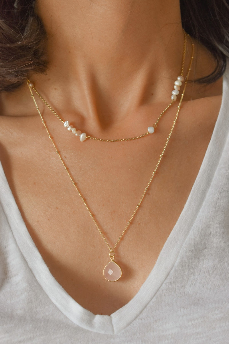 Collier Justine Quartz rose