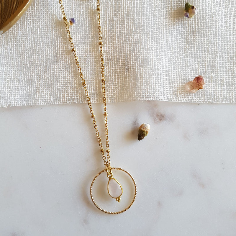Collier Clémentine Quartz rose