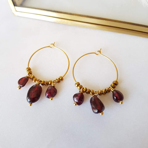 Boucles d'oreilles Pipa Roses (Rubellite)