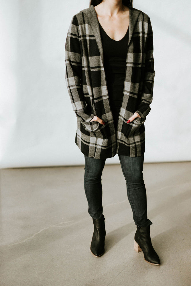 Roll Collar Plaid Cardigan