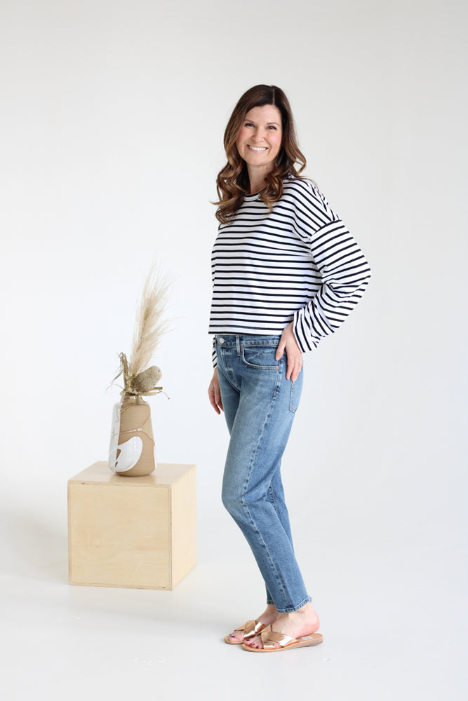 Striped Cinch Sleeve Top