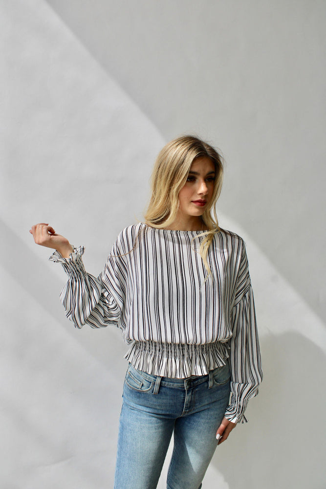 Stripe Top with Smocking Detail