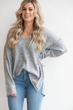 V-Neck Hi-Low Hem Sweater