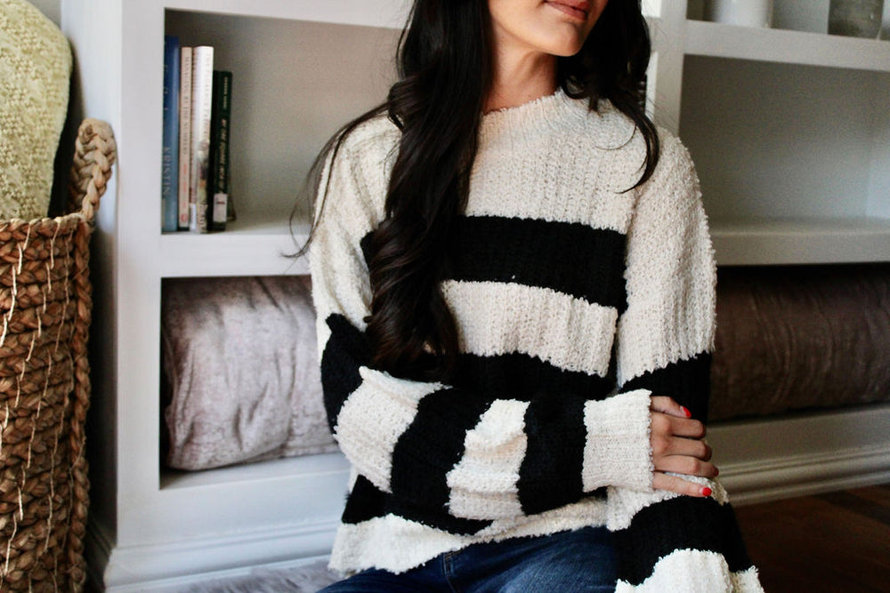 L/S Stripe Knit Sweater