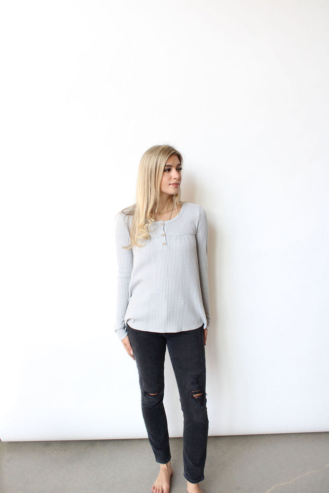 Waffle Button Down L/S Top