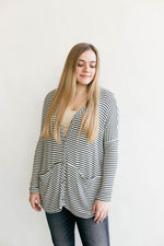 Relaxed Fit Stripe Cardigan