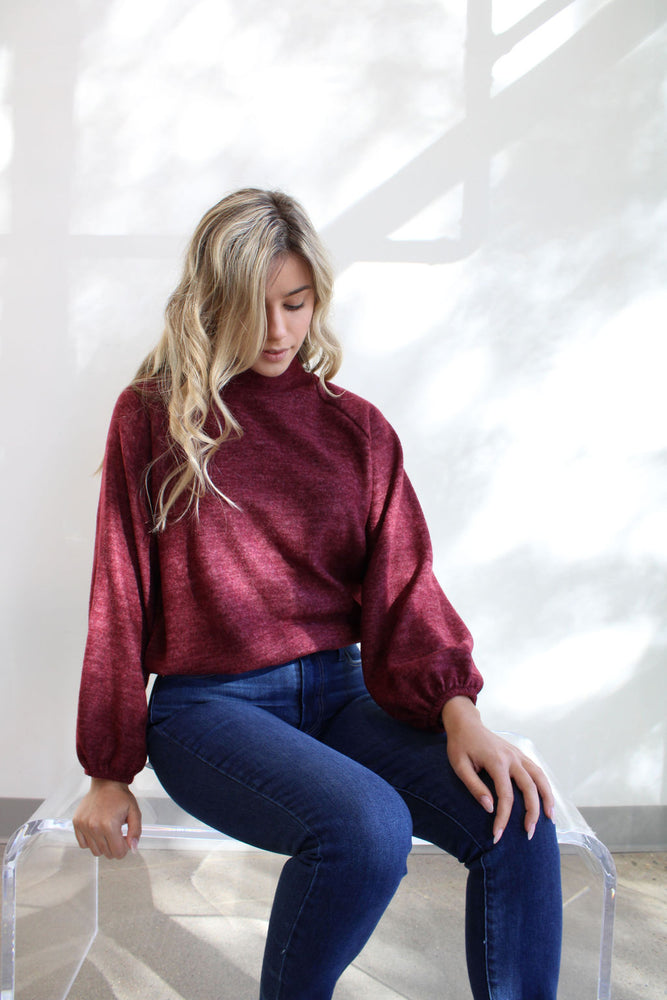 Self Knit High Neck Top
