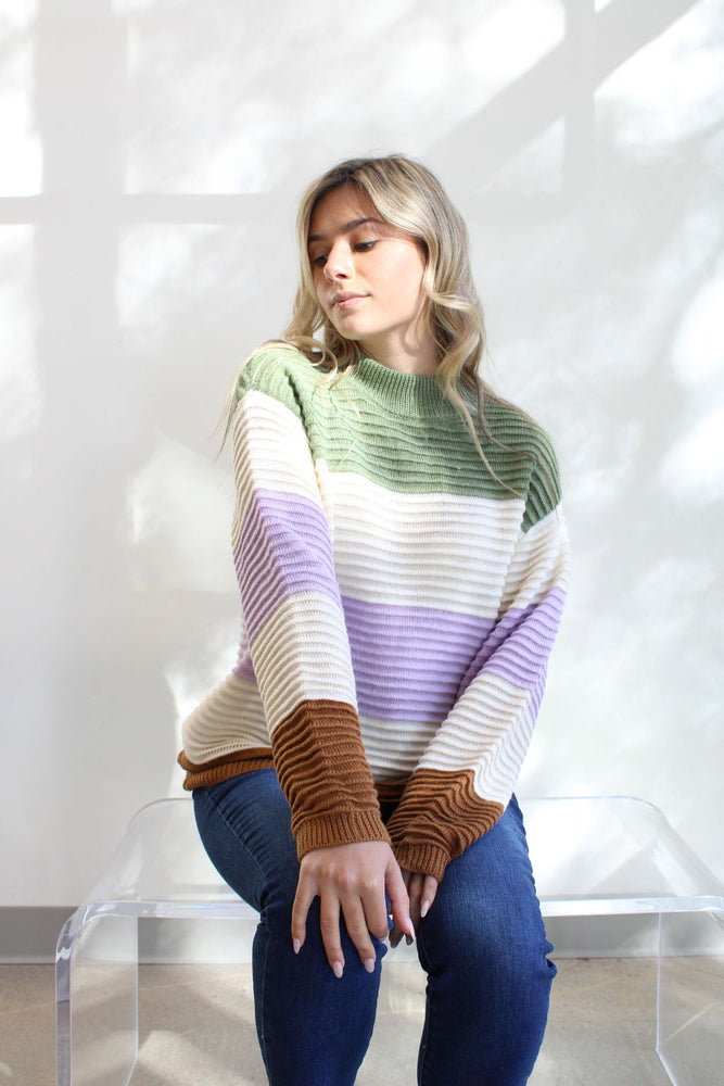 High Neck Color Block Sweater