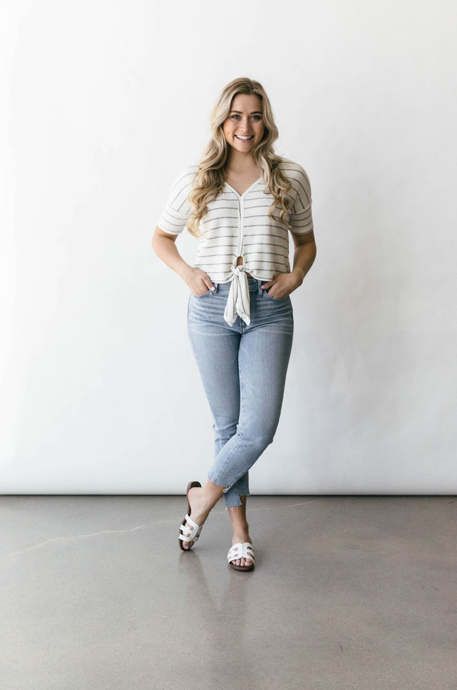 Short Sleeve Knit Top W/ Front Tie