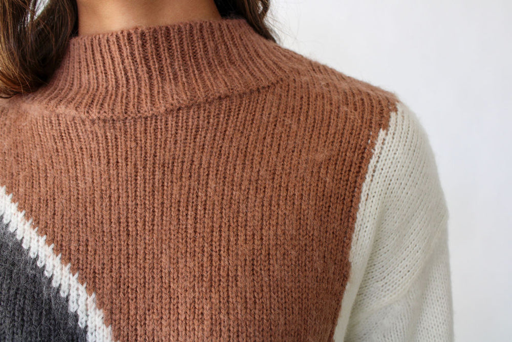 Brushed Colorblock Mock Neck Sweater