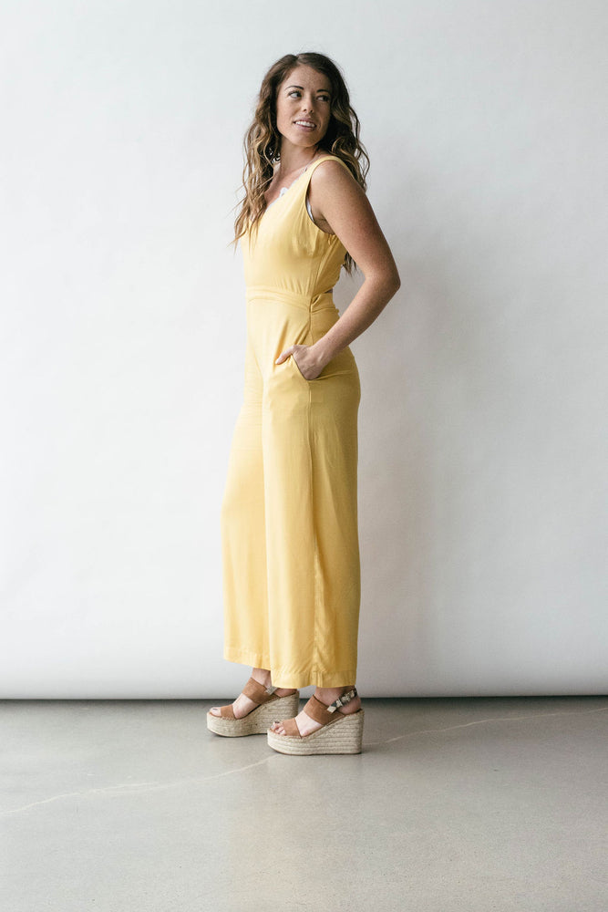 V-Neck Jumpsuit with Open Twist Back