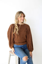 Balloon Sleeve Crop Sweater