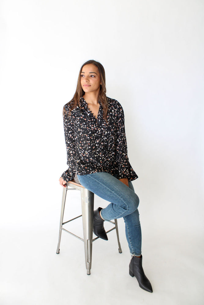 Printed Blouse w/ Loop Btns