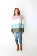 Crew Neck Color Block Sweater