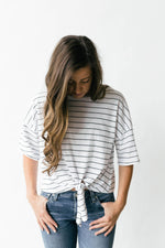 Aria Striped Side Tie Top