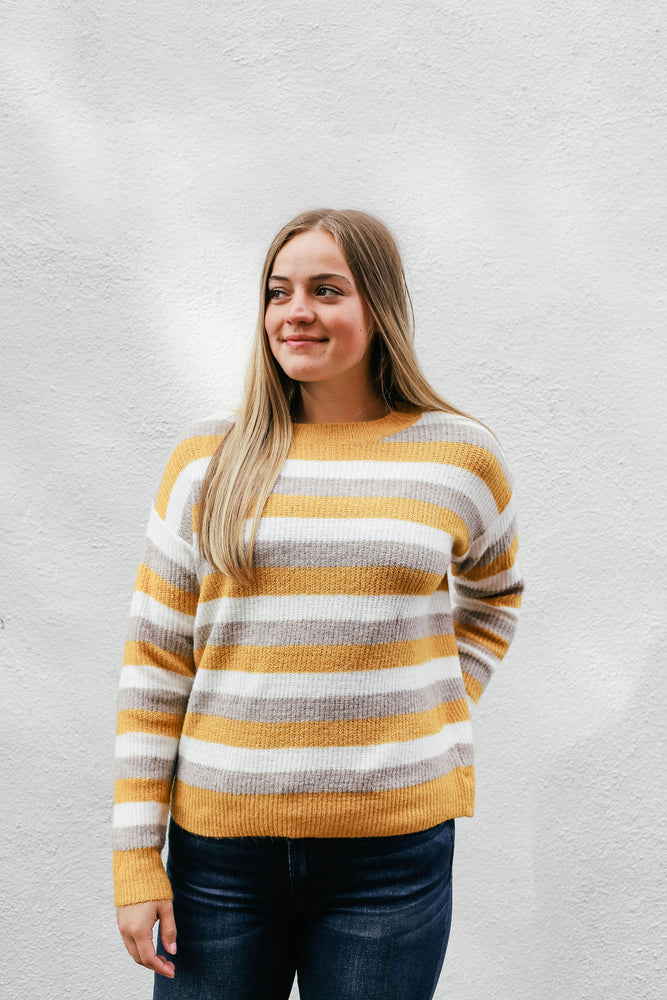 Multi Striped Crew Neck Sweater
