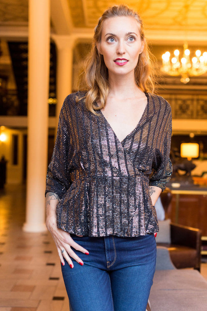 Sequin Wrap 3/4 Sleeve Top