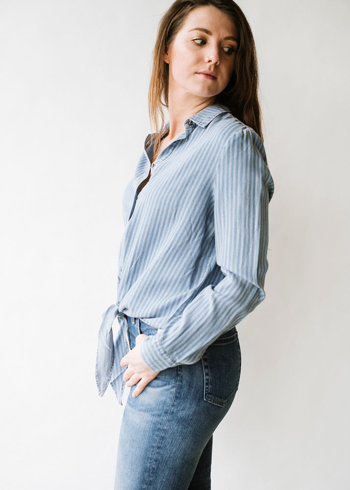 Button Up L/S Tied Front Shirt
