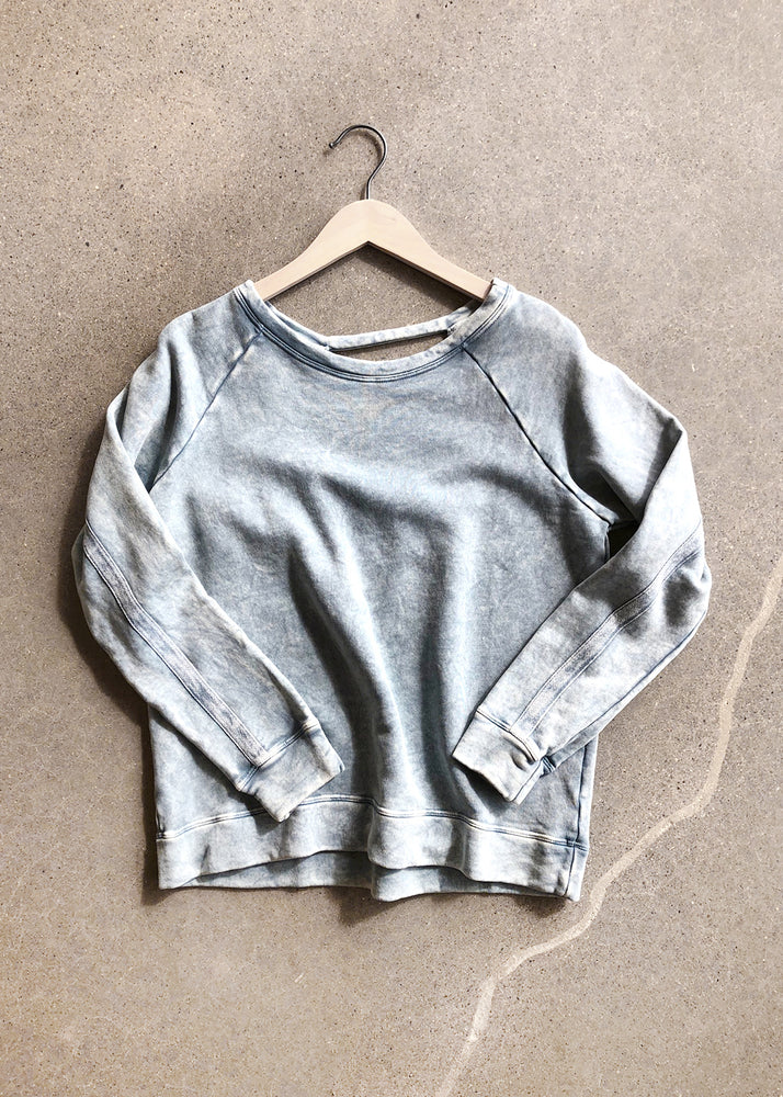 Stone Washed Sweatshirt with Open Back