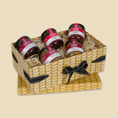 Small Wicker Effect Box with 5 Miniature Jars