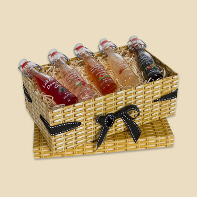 Small Wicker Effect Box with 5 Miniature Gin Liqueurs