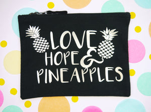 Love, Hope & Pineapples Bag / Black & Gold