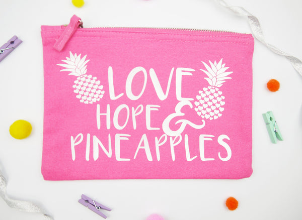 Love, Hope & Pineapples Medication Pouch - Pink & Pearl White