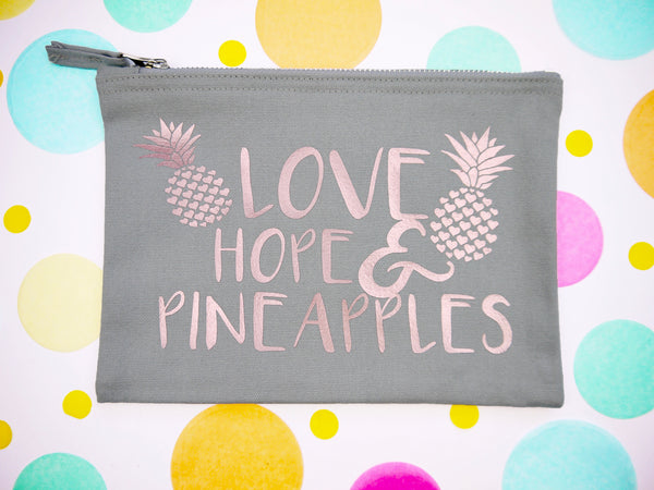 Love, Hope & Pineapples Bag / Grey+ Rose Gold