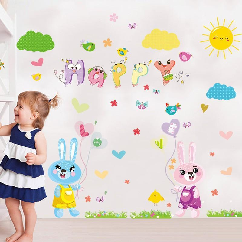 XL8208 cartoon love rabbit butterfly wall birds chicks flower wall stickers for kids rooms bathroom decor wall decals poster