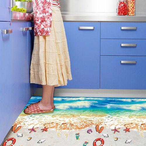 The SK9174N blue beach nano waterproof and oil-proof wall is attached to the porch bedroom floor seamless patchwork sticker PVC