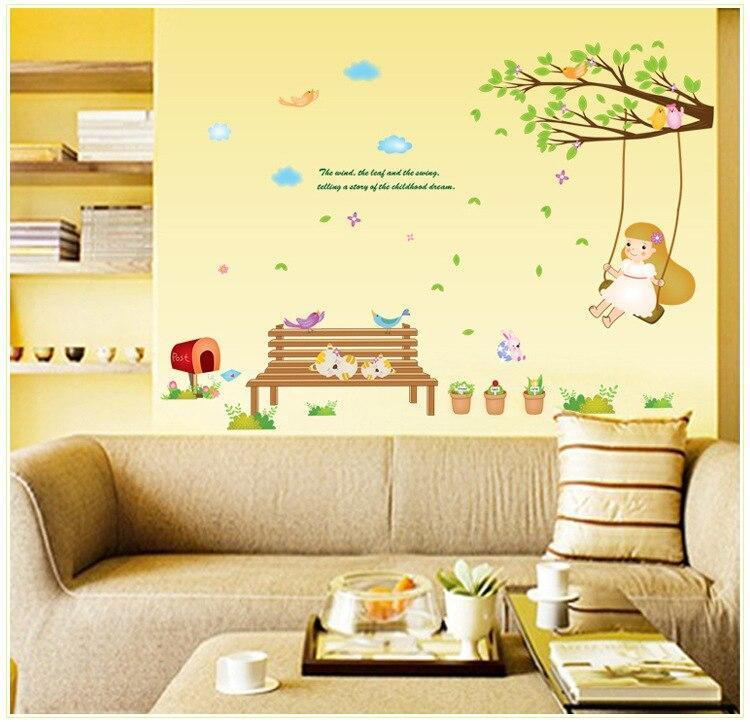 Cheap DIY Cartoon Swing girl Vinyl Removable Kid Room DIY Wall Stickers Decal environment Mural Decor AY7198