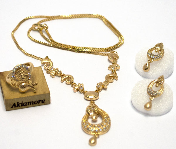 new stylish gold platted simple set