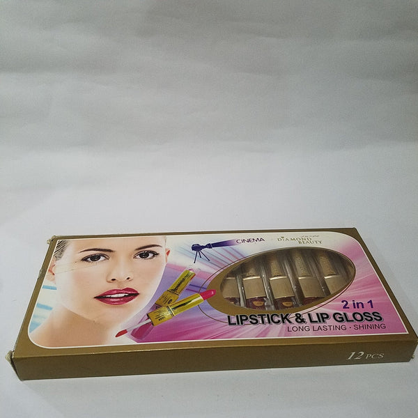DIAMOND BEAUTY PACK OF 12 2 IN 1 LIPSTICK AND LIPGLOSS