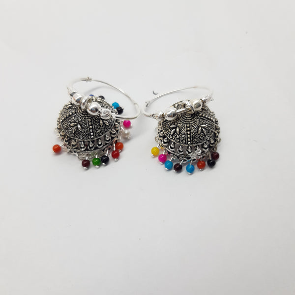 Silver with multi stone earring