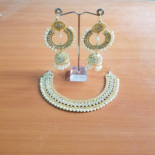 Golden antique bali with jhumki set