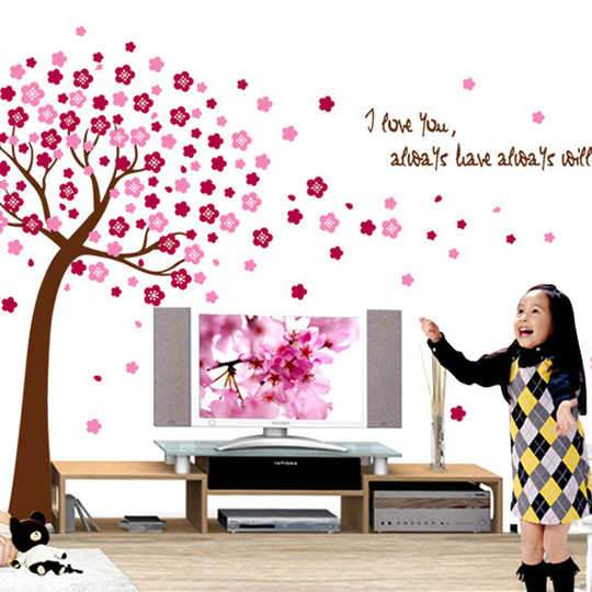 xl8047a  Removable Romantic Pink Peach Tree Wall Stickers Bedroom Living Room Sofa Entrance Decorations Environmentally Friendly Wall Sticker